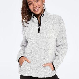 NWOT PINK Grey Sherpa Quarter Zip Pullover